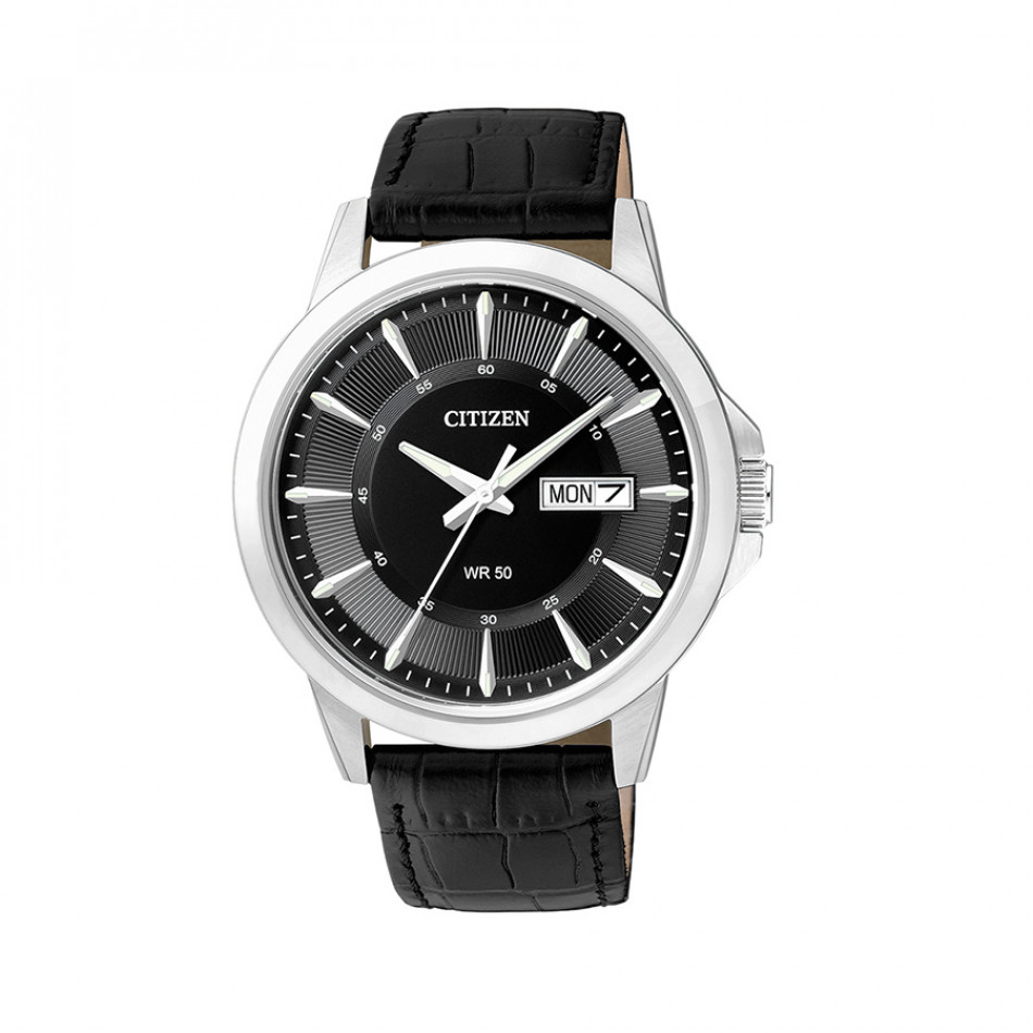 Eco-Drive Black Dial Black Leather Men's Watch BF2011-01EE BF2011 01EE