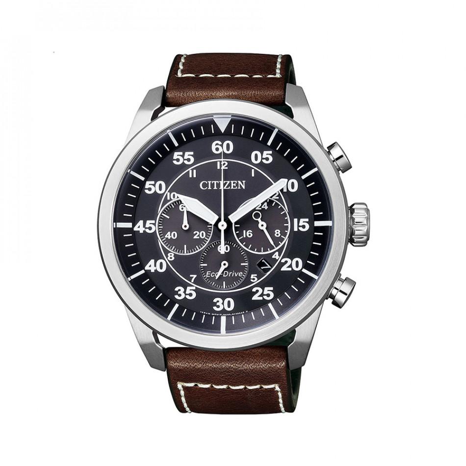 Мъжки часовник Citizen с каишка от естествена кожа в кафяво CA4210 16E
