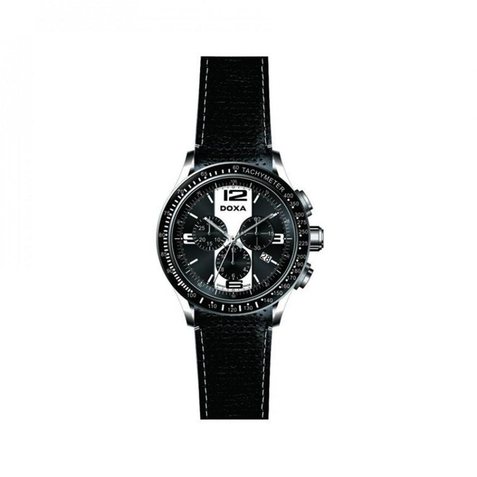 Мъжки часовник DOXA Trofeo черен с черна кожена каишка 2851026301W