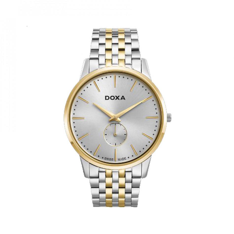 Мъжки часовник DOXA Slim Line сребрист браслет със златисти елементи D155TWH