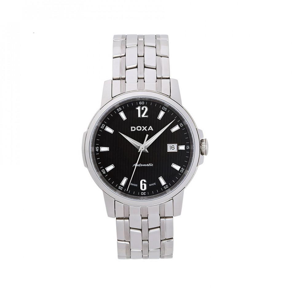 Мъжки часовник DOXA Ethno сребрист браслет с черен циферблат 2051010310