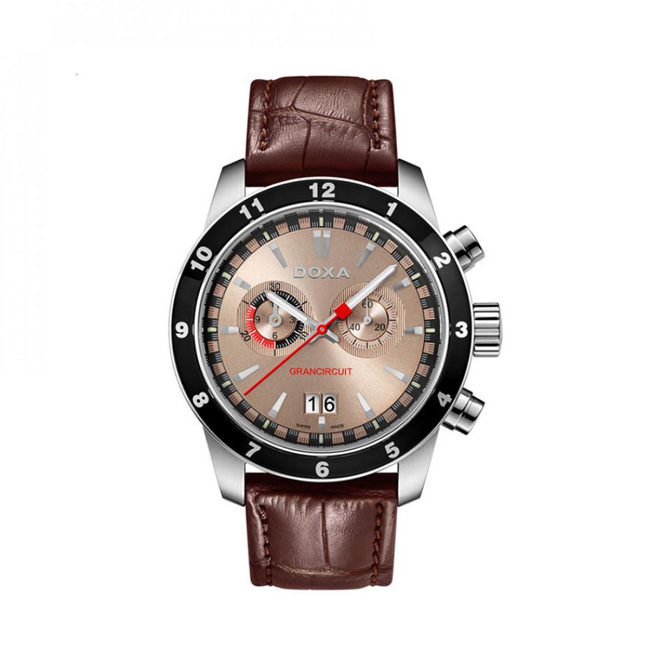 Мъжки часовник DOXA Grancircuit с кафяв циферблат и каишка 1401032102
