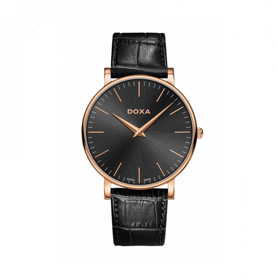 Мъжки часовник DOXA D-Light с черен циферблат и златисти стрелки 1739010101