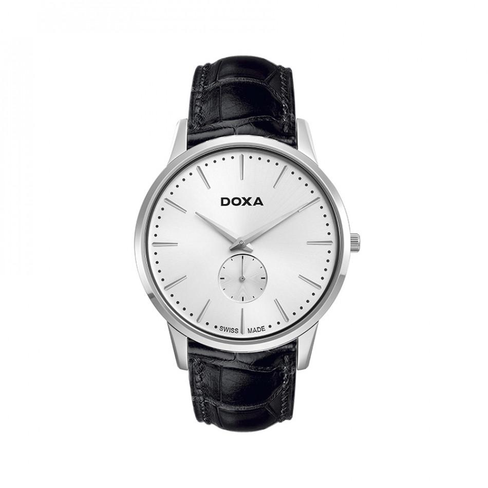 Мъжки часовник DOXA Slim Line черен със сребрист циферблат 1051002101