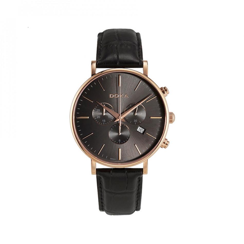 Мъжки часовник DOXA D-Light черен с розова позлата на касата 1729012101