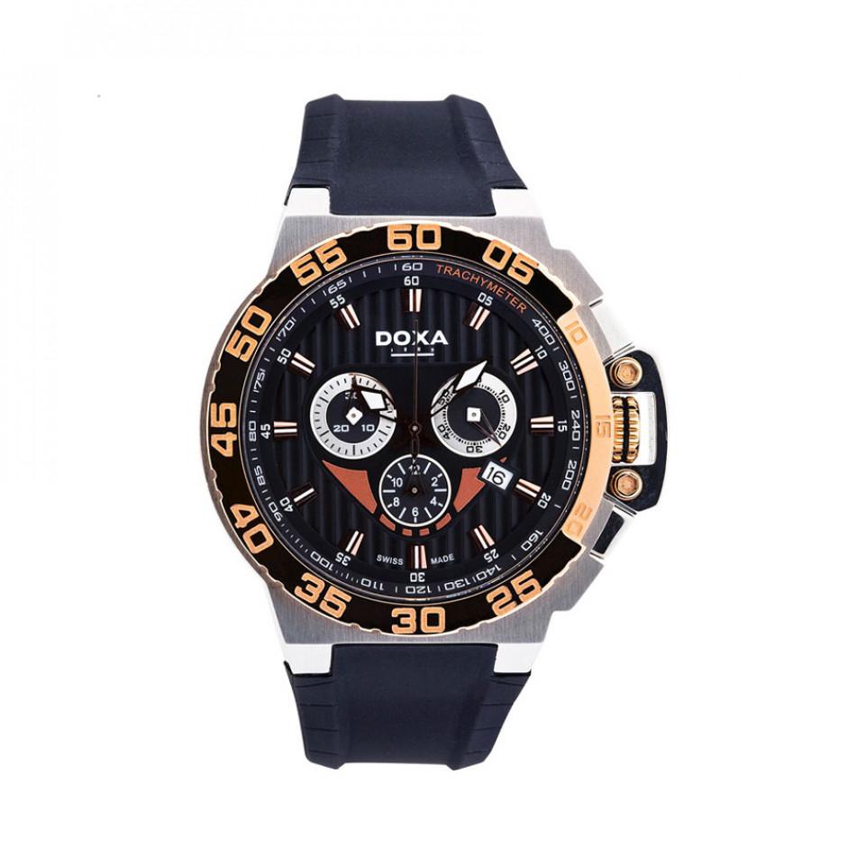 Мъжки часовник DOXA Splash черен с розова позлата на касата 70010R06120