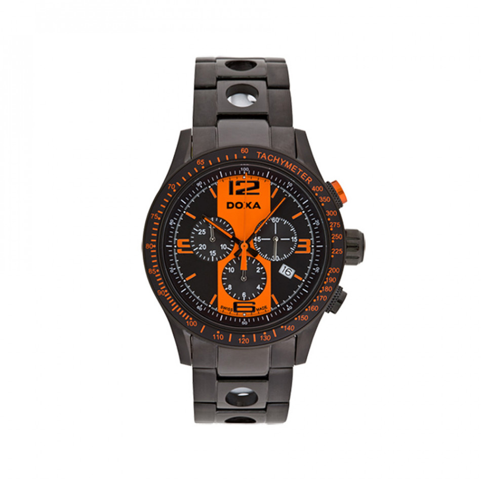 Мъжки часовник DOXA Trofeo черен с оранжеви детайли 2857034315