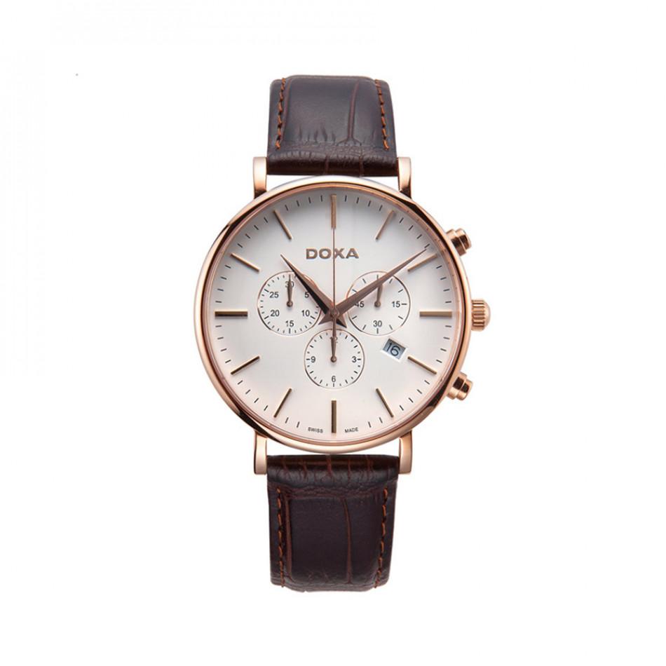 Мъжки часовник DOXA D-Light с розова позлата на касата 1729001102