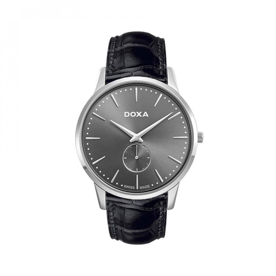 Мъжки часовник DOXA Slim Line черен  с малък секундарник 1051010101