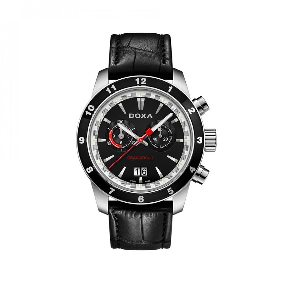 Мъжки часовник DOXA Grancircuit с черен циферблат и каишка 1401010101