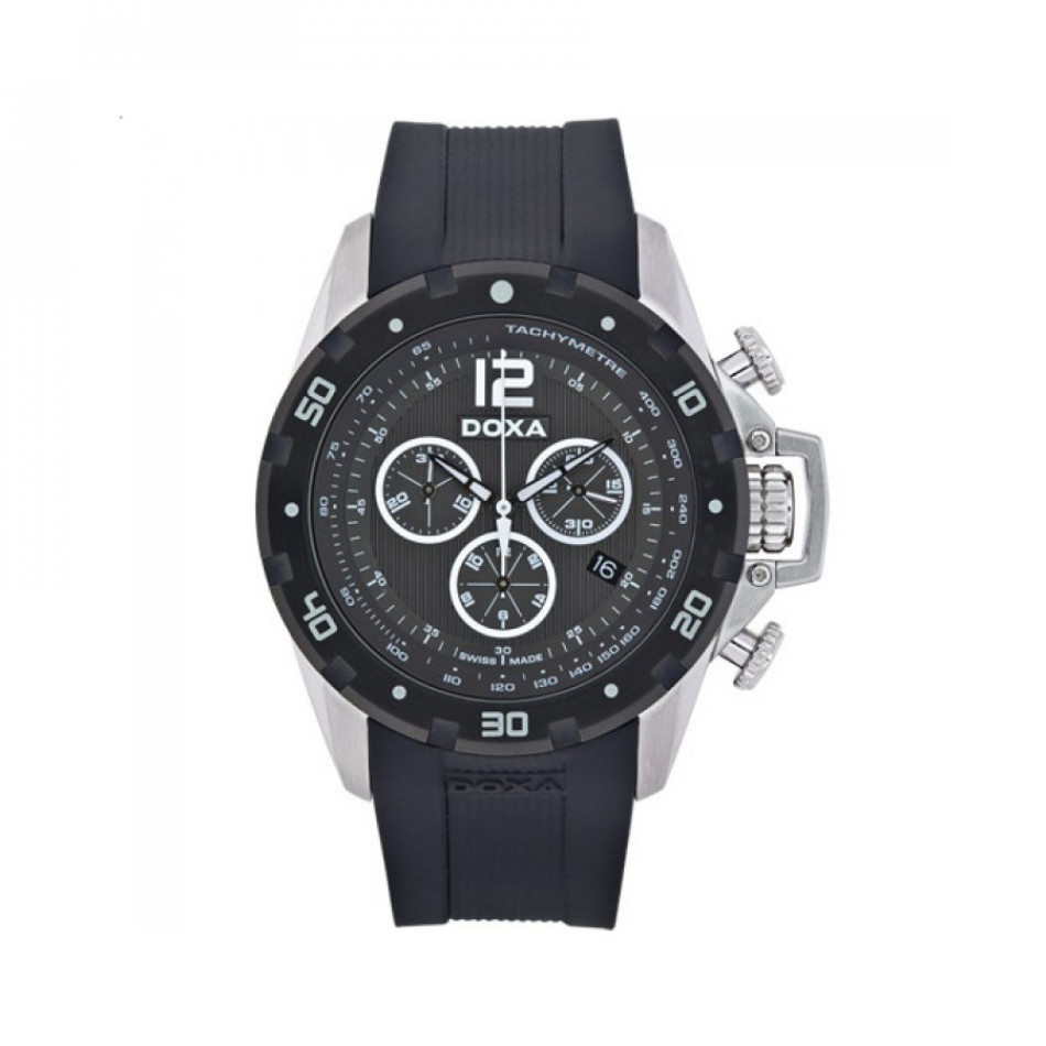Мъжки часовник DOXA Water N'Sports черен с бели детайли 7038010320