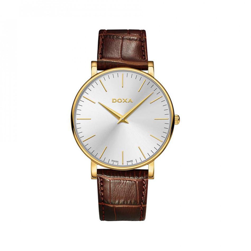 Мъжки часовник DOXA D-Light със сребрист циферблат и златисти стрелки 1733002102