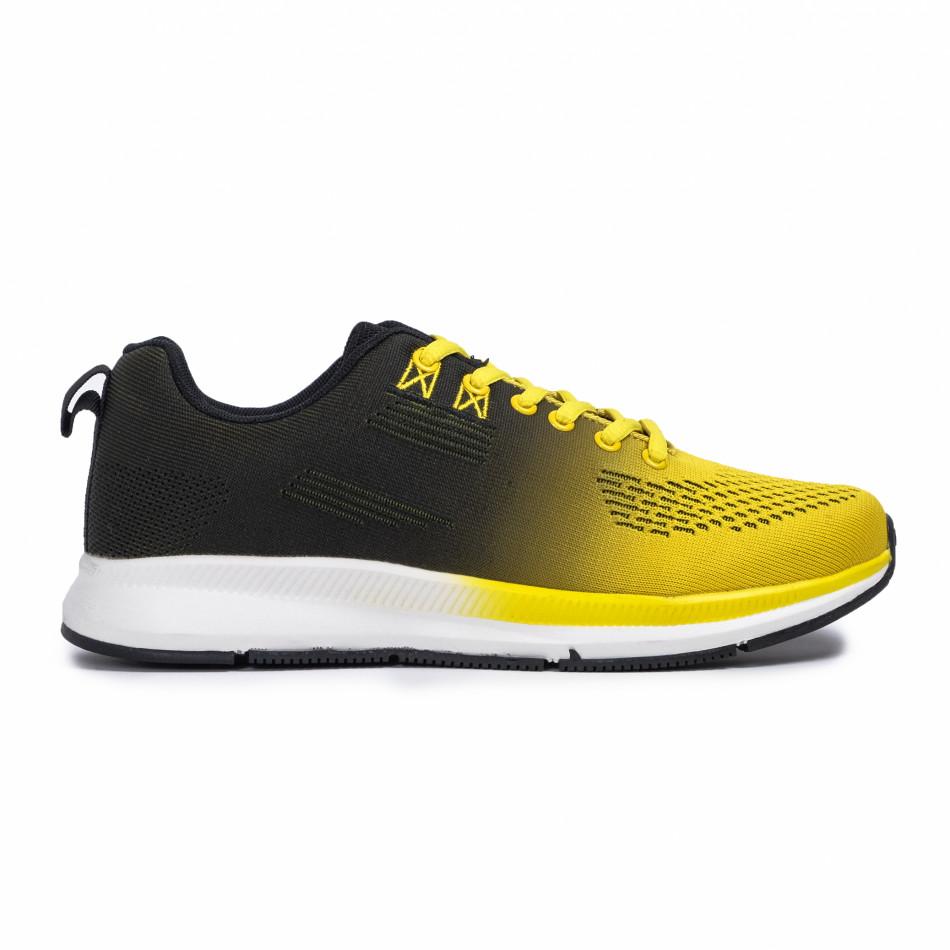 Плетени мъжки маратонки жълт градиент it260620-6