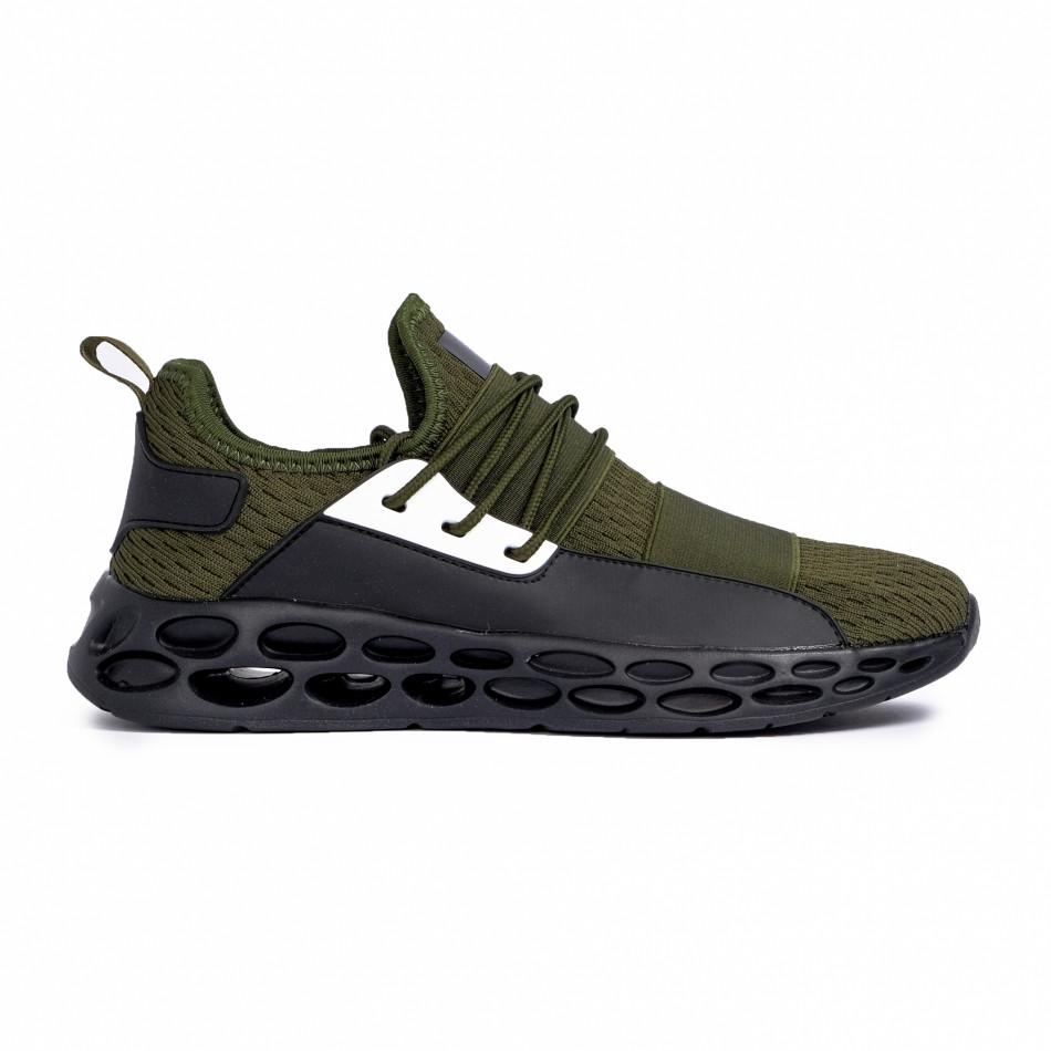 Мъжки зелени маратонки с ластици it180820-4