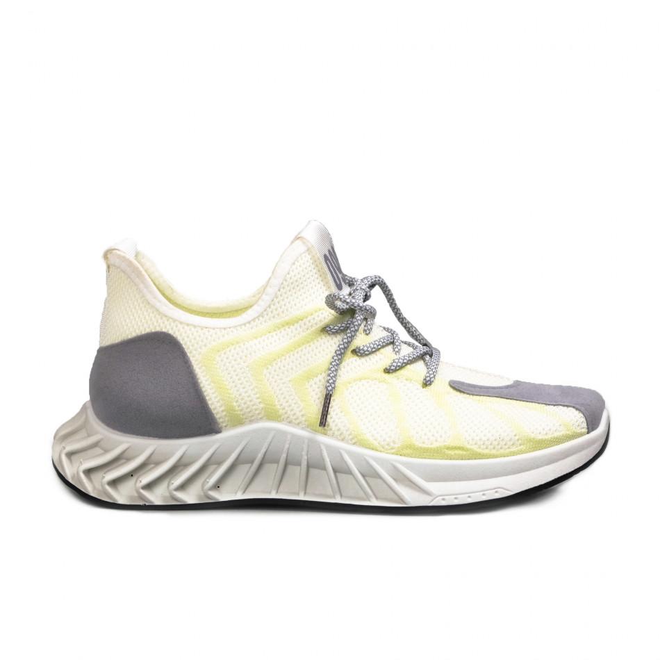Мъжки бели маратонки жълт меланж gr080621-9