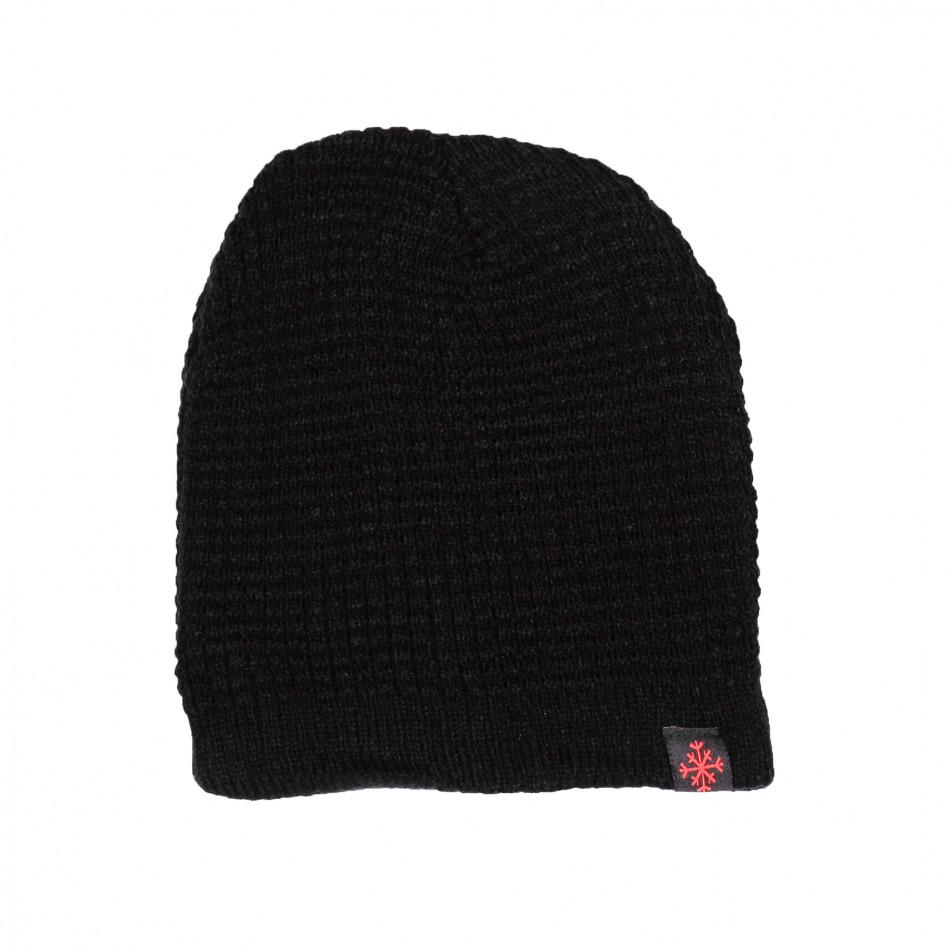 Черна мъжка шапка структурна плетка il161220-7