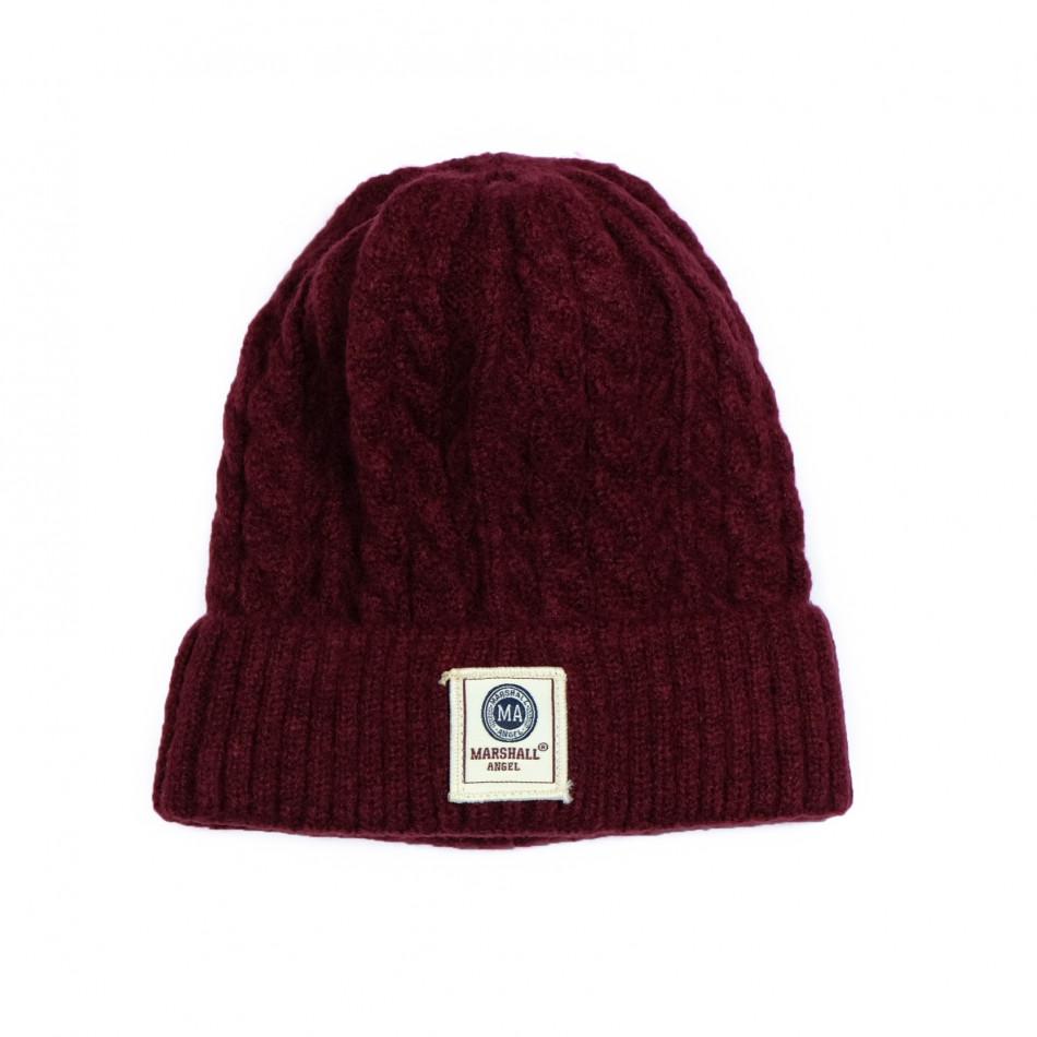 Мъжка шапка бордо с плетеници it231220-36