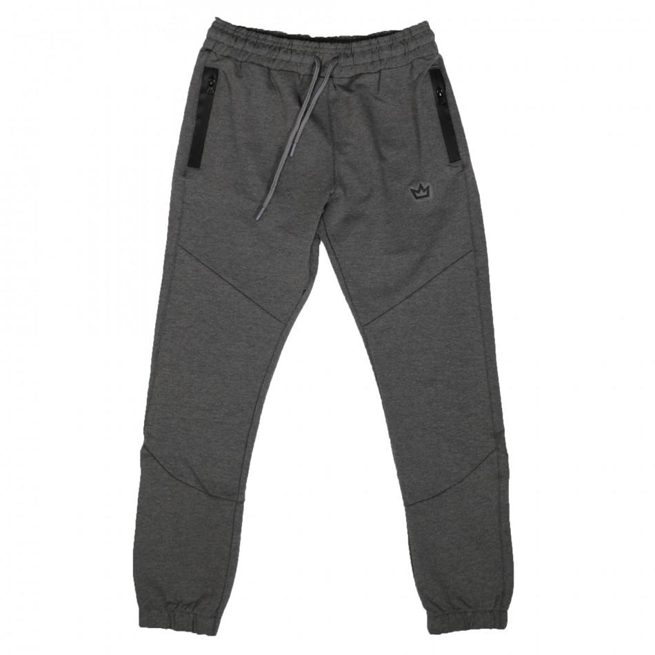 Мъжко сиво долнище с ципове на джобовете it261120-4