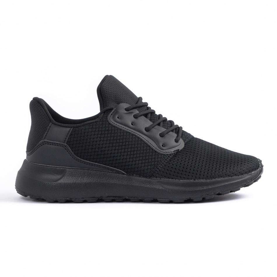 All black мъжки маратонки текстуриран текстил it260520-3