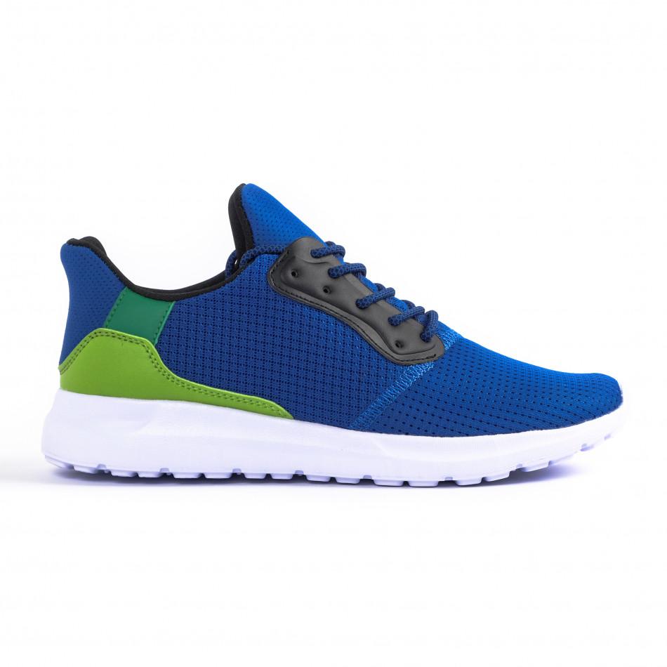 Сини мъжки маратонки текстуриран текстил it260520-4