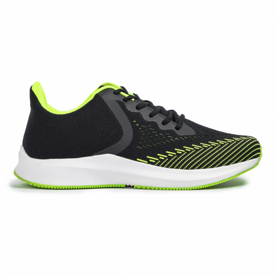 Плетени мъжки маратонки черно с неон it260620-5