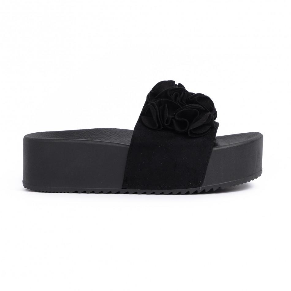Дамски чехли на платформа в черно it030620-11