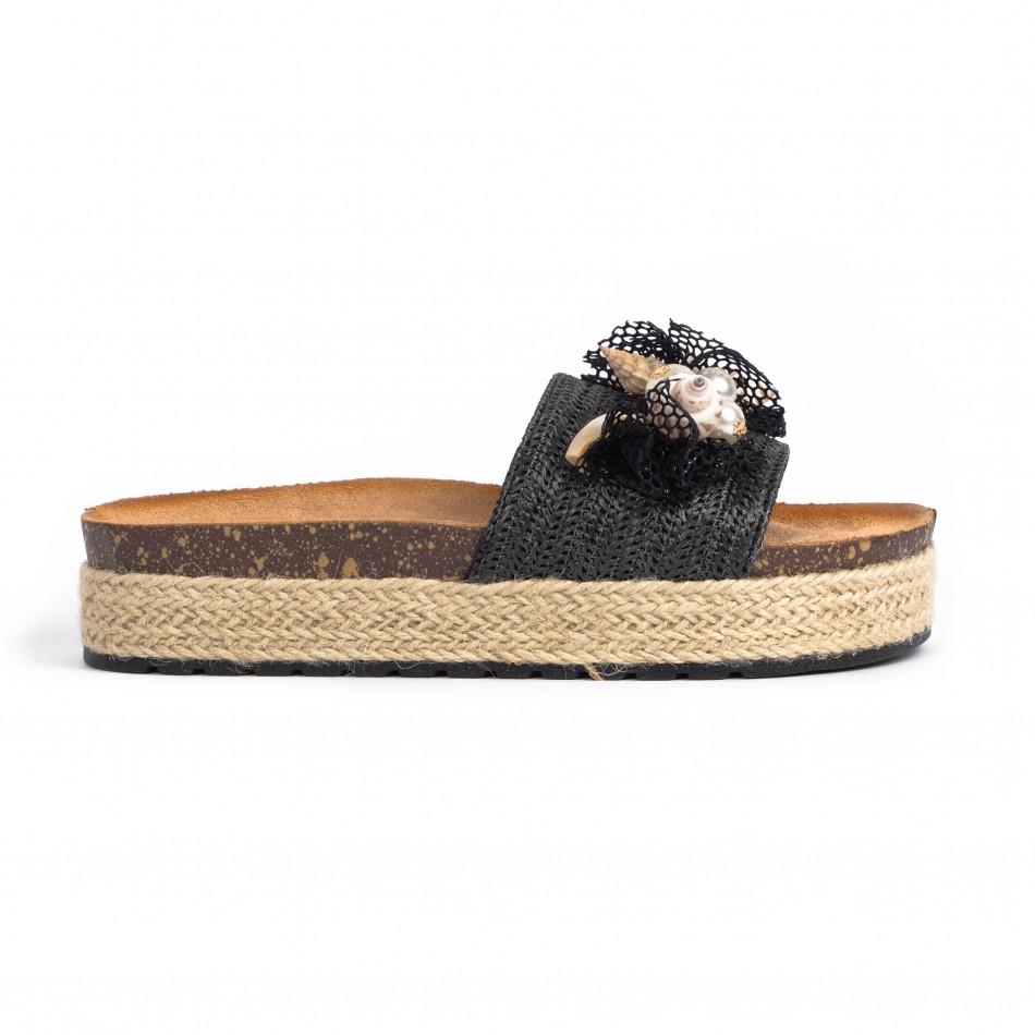 Черни дамски чехли морска декорация it030620-19