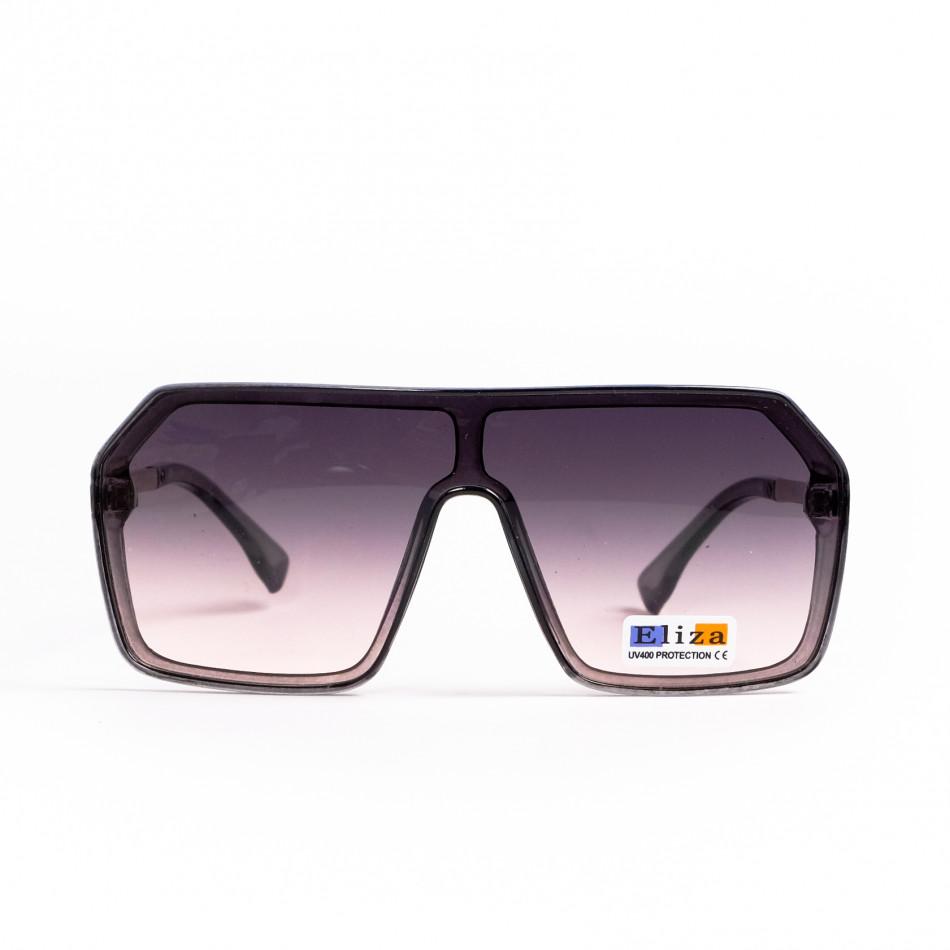 Кафяви опушени очила тип маска Hexagon il200521-17