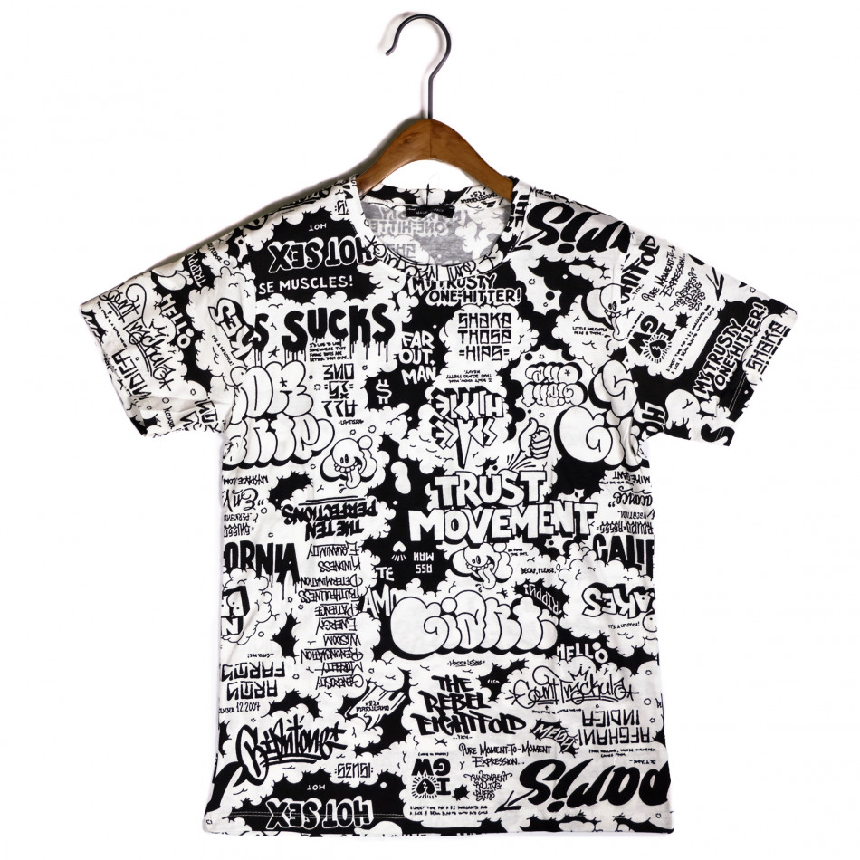 Мъжка черно-бяла тениска с комикси it200421-9
