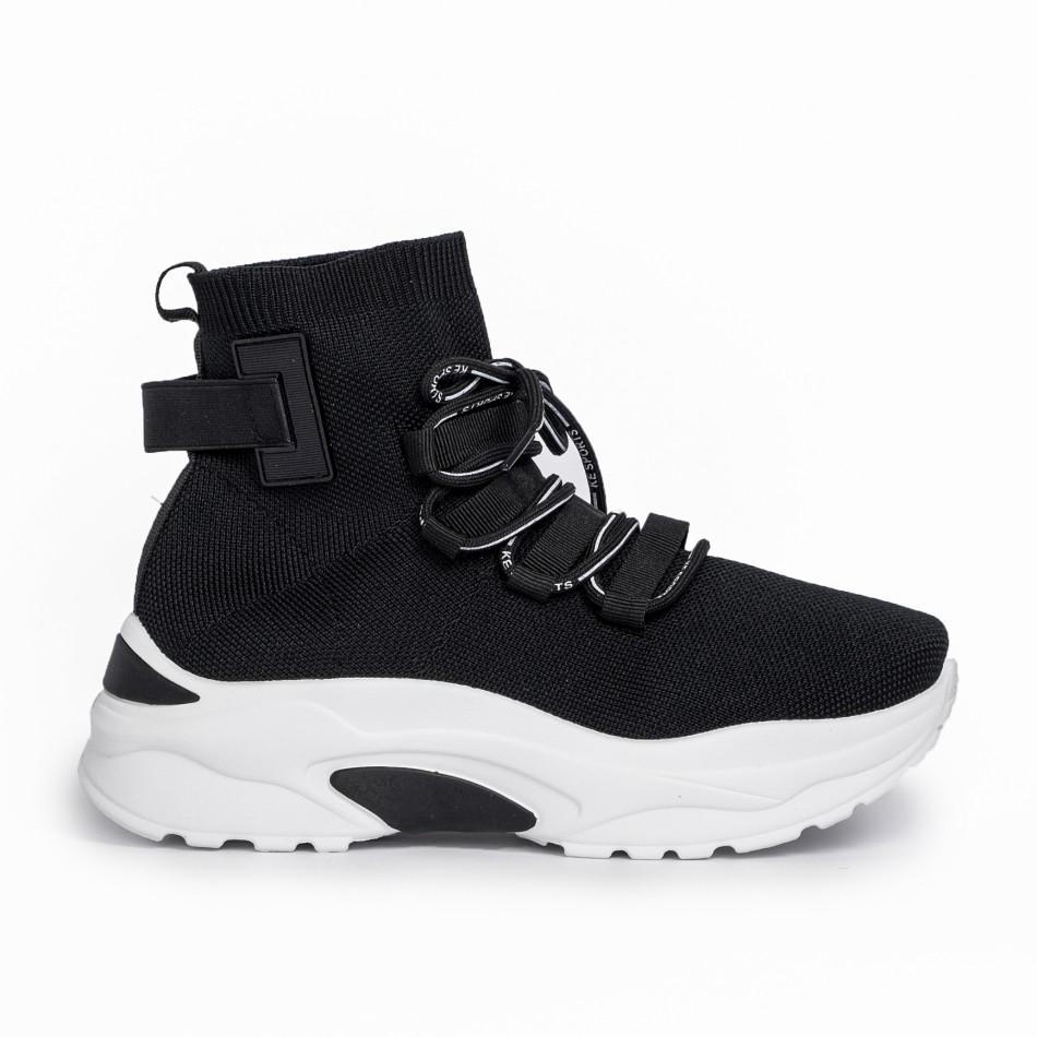 Дамски маратонки чорап в черно it161220-15