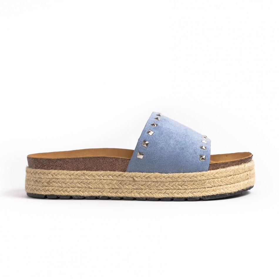 Дамски чехли с капси в синьо it260521-1
