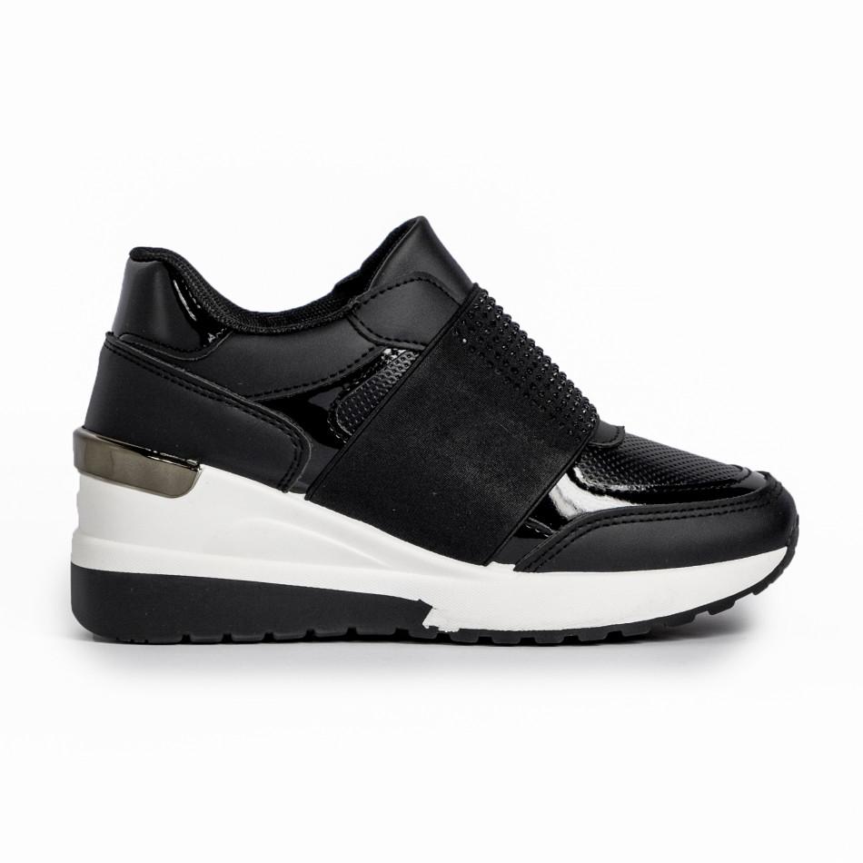 Slip-on дамски черни маратонки на платформа it280820-3