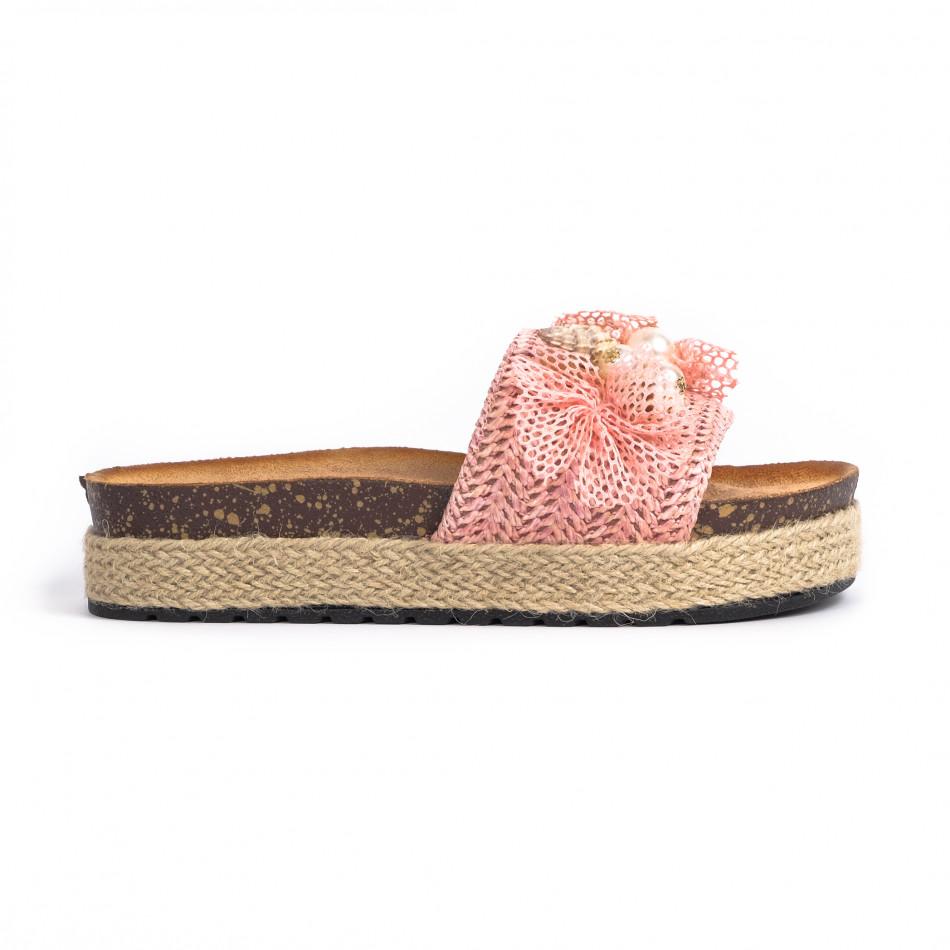 Розови дамски чехли морска декорация it030620-20
