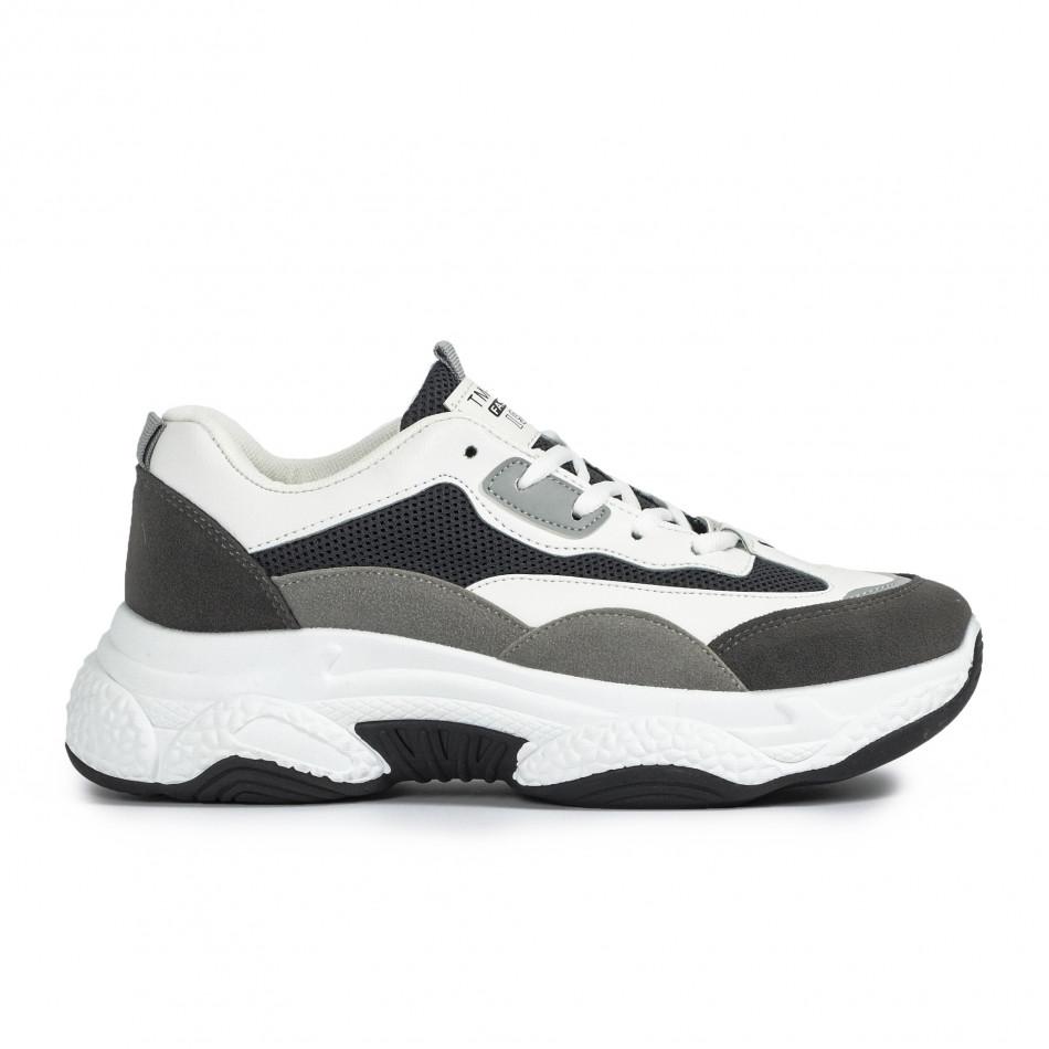 Chunky мъжки маратонки в сиво и бяло it300920-55