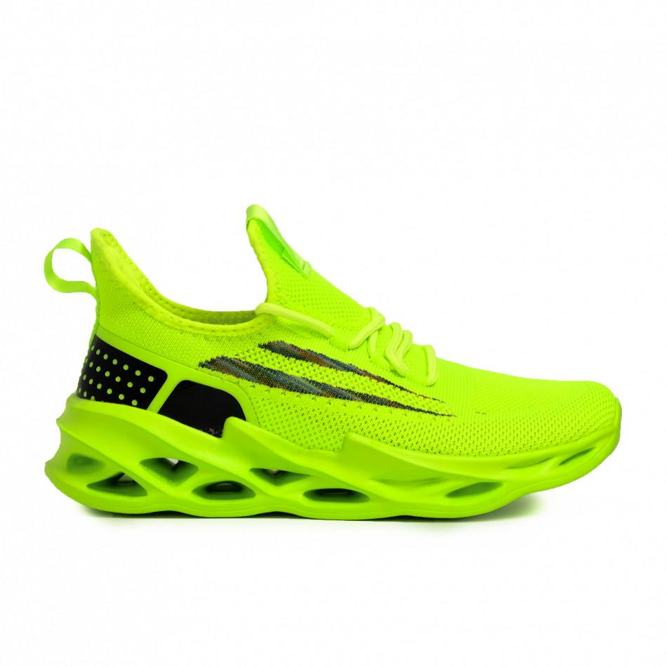 Мъжки неоново зелени маратонки Chevron it090321-1