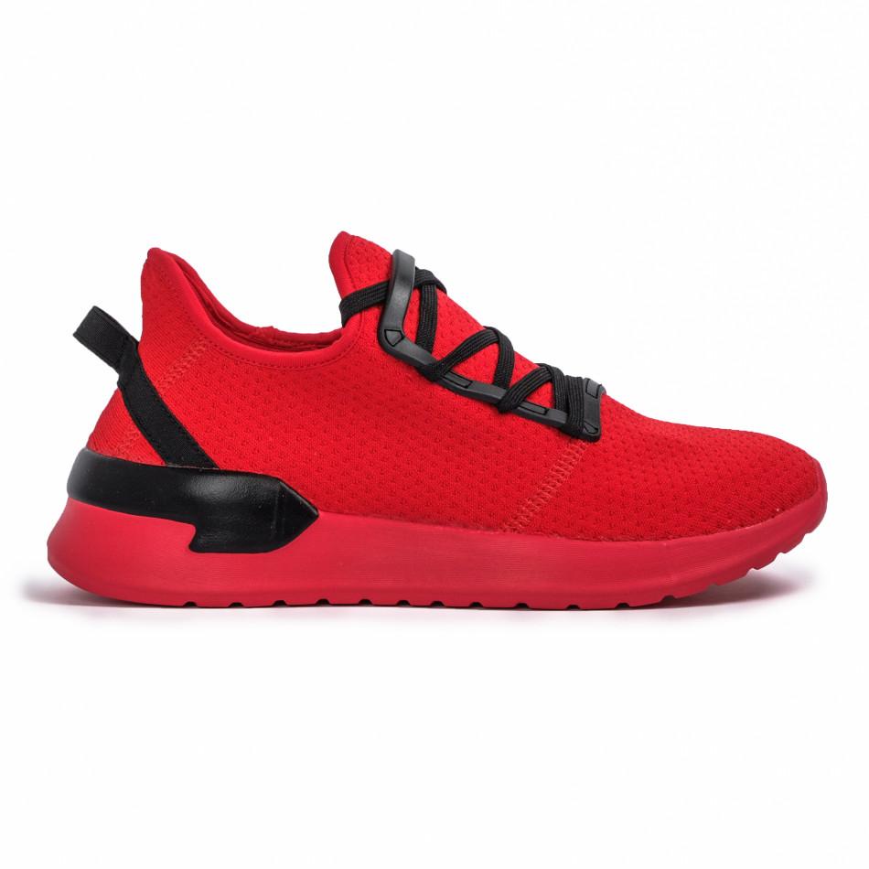 Червени мъжки маратонки тип чорап Lace detail it260620-11