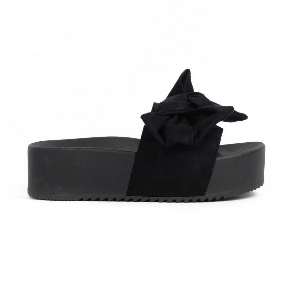 Черни дамски чехли на платформа с панделка it030620-9