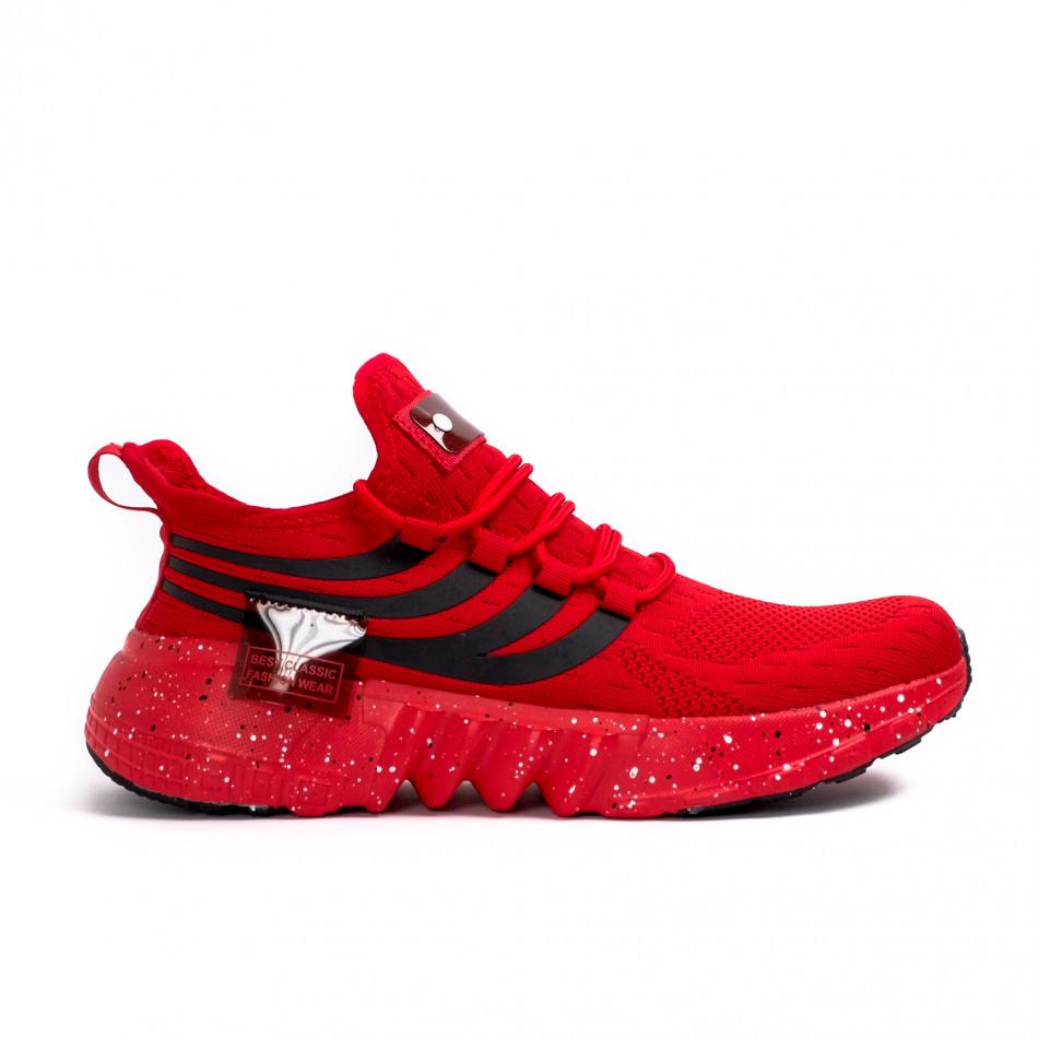 Червени маратонки чорап с гумиран детайл it180621-3