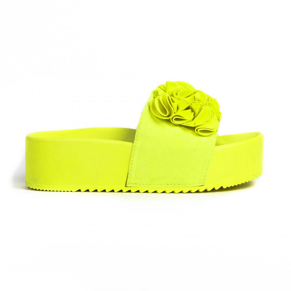 Дамски чехли на платформа жълт неон it030620-12