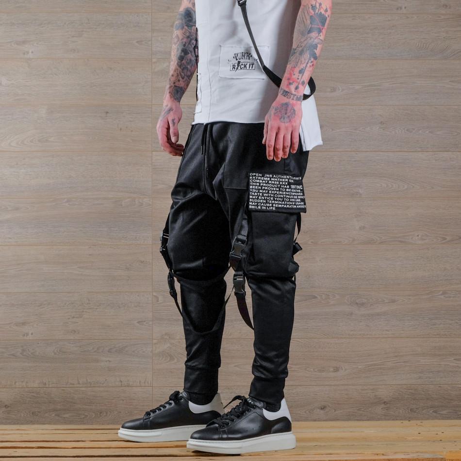 Мъжки еластичен панталон с акценти tr110320-135