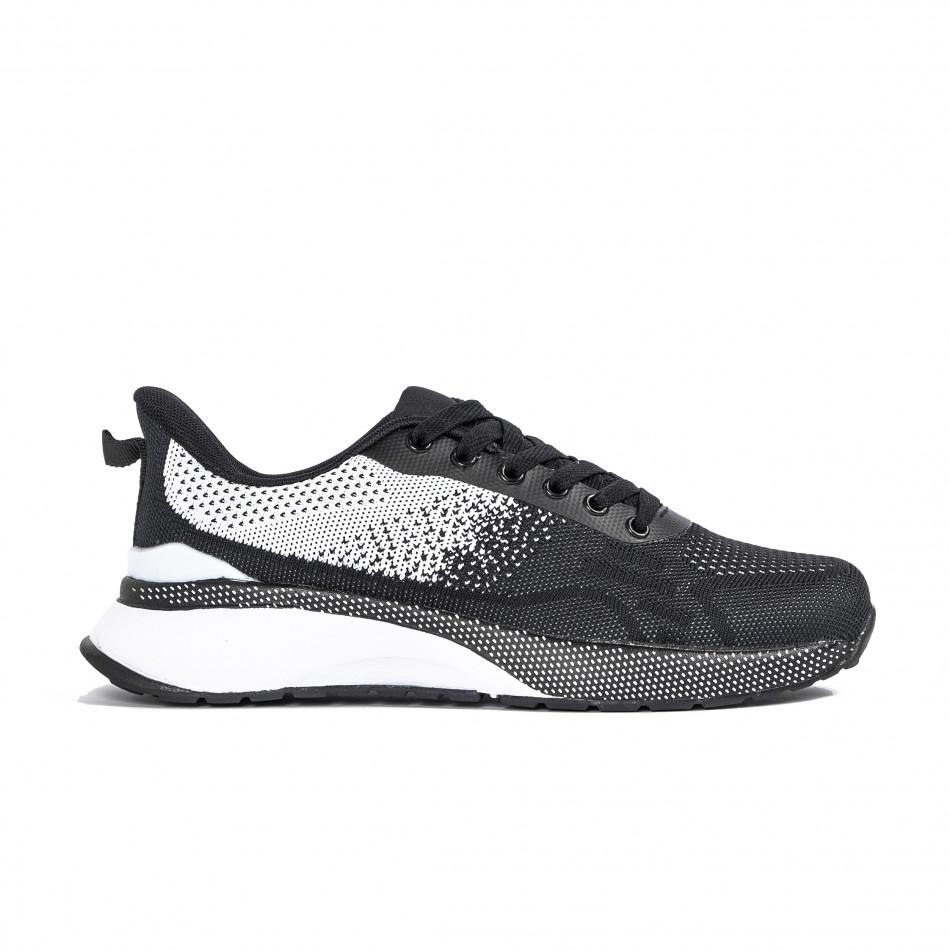 Плетени мъжки маратонки черно и бяло it270320-19