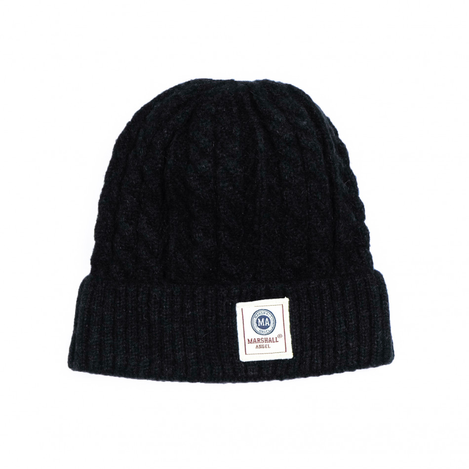 Мъжка черна шапка с плетеници it231220-37
