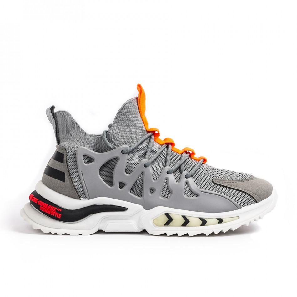 Мъжки маратонки чорап в сиво gr080621-1