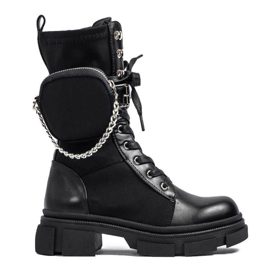 Дамски черни високи кубинки Mini Bag it231120-6