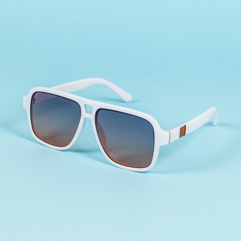 Опушени слънчеви очила масивна рамка в бяло il200720-2