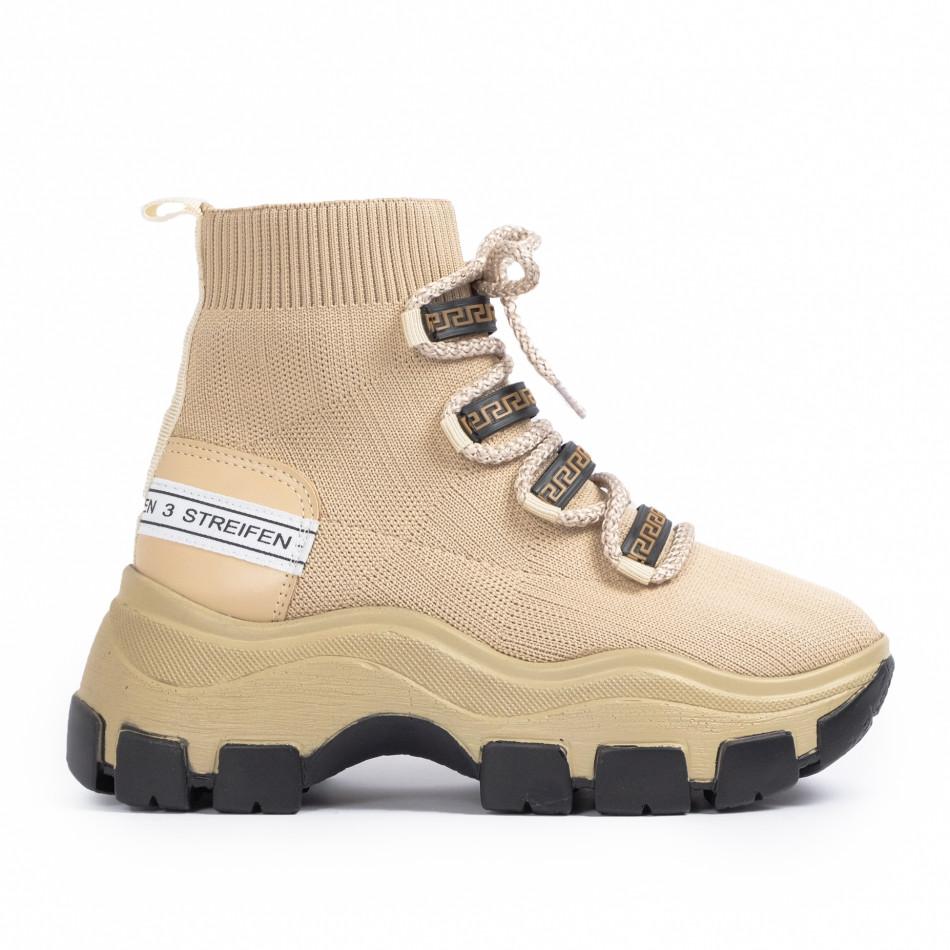 Chunky маратонки чорап в бежово tr231020-3