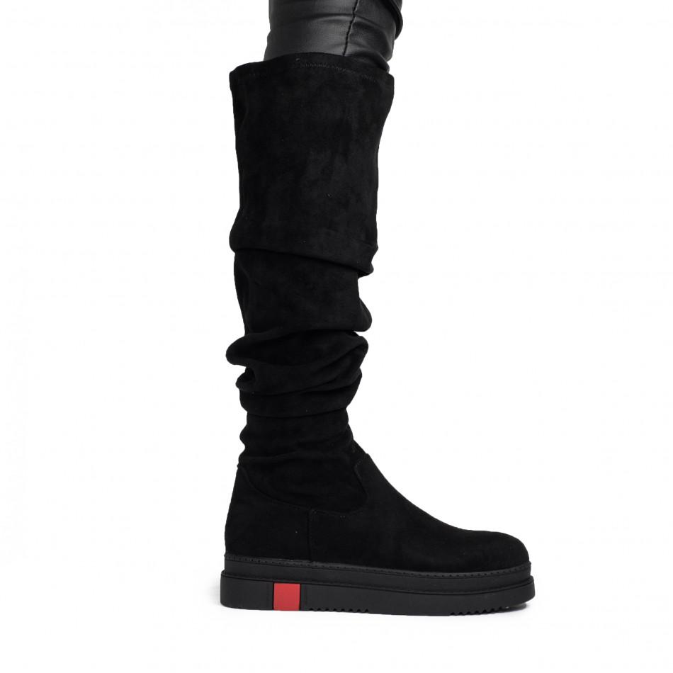 Текстилни дамски чизми в черно it161220-18