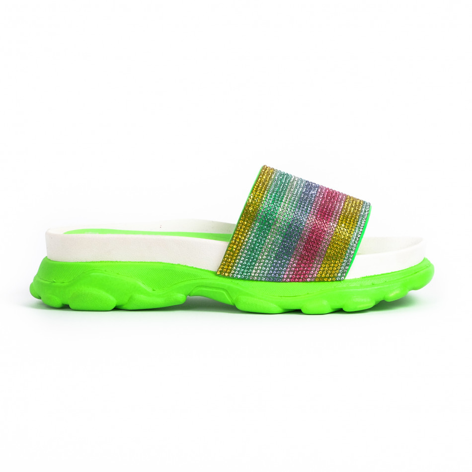 Дамски джапанки Rainbow Chunky неон it030620-5