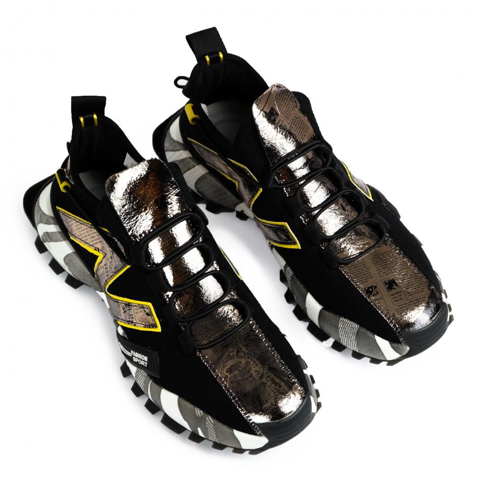 Slip-on black & metallic мъжки маратонки  gr270421-32