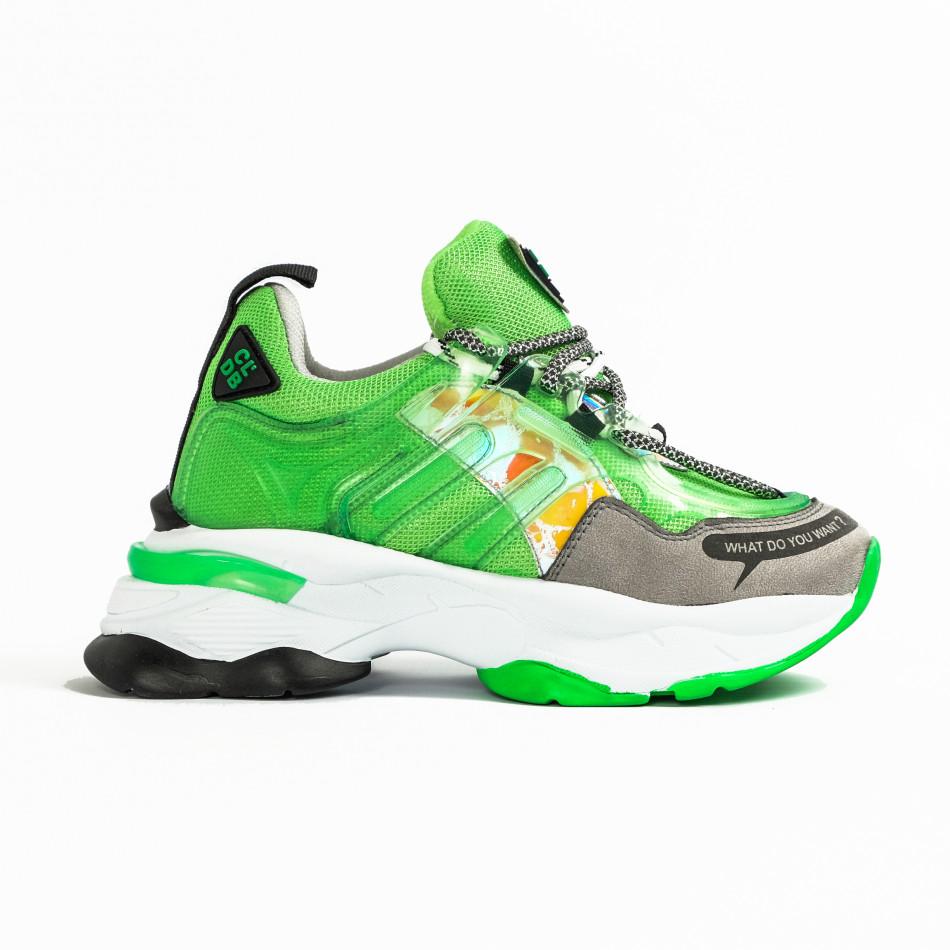 Chunky маратонки с прозрачни детайли зелен неон tr240320-1